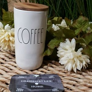 NWT HTF Rae Dunn COFFEE canister with wood